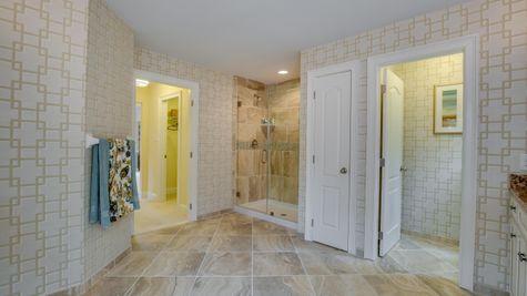 Brandywine master bath walk in shower with glass doors