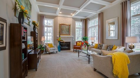 Large Brandywine family with fireplace, double height ceiling and windows plus sample furniture