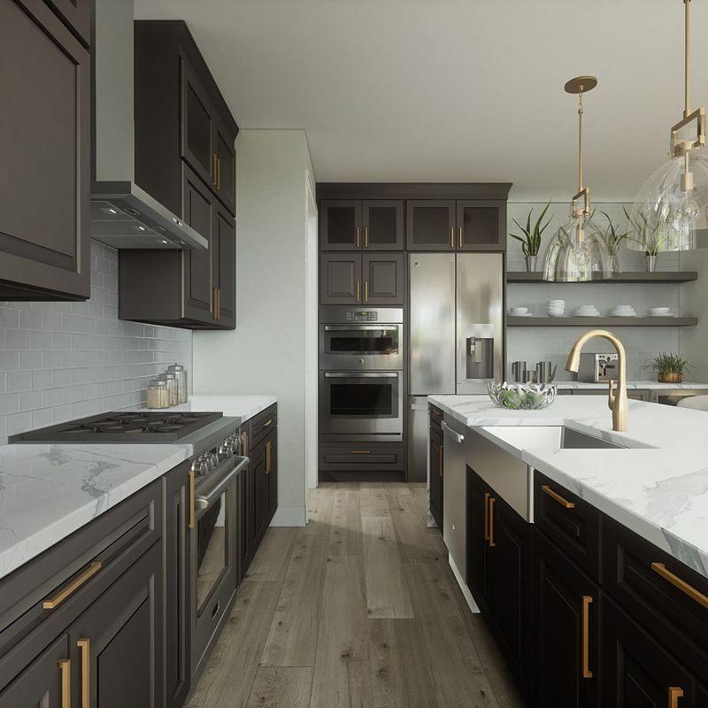 A modern kitchen representing kitchen design ideas by custom home builder Robertson Homes in Michigan