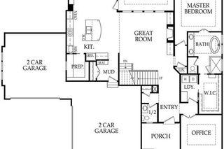 """4 CAR GARAGE """"ROANOKE"""" 1.5 STORY BY ROESER HOMES - MAIN FLOOR PLAN"""