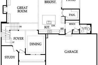 The Irving 2 Story. Main Level Floor Plan. Pictures are of Model, Not Actual Home. Pictures May Feature Upgrades. Please Contact Listing Agent for Stage of Construction, Upgrades, and Available Buyer Selections.