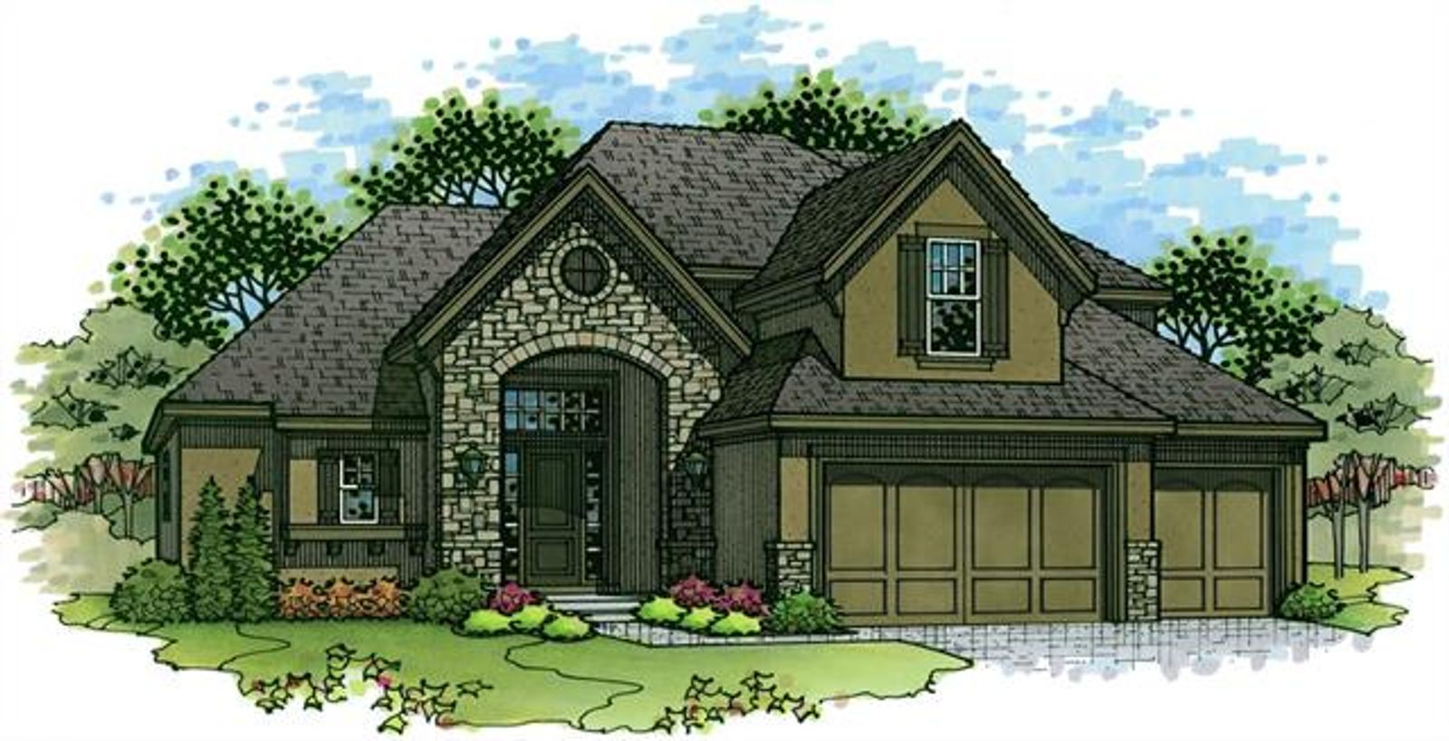 This is Elevation 2 for the New Haven 1.5 Story which will be built on Lot 107 - 12153 S Solomon Rd in the Estates of Forest View.