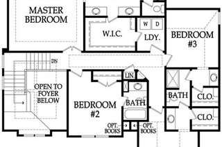 The Irving 2 Story. Upper Level Floor Plan. Pictures are of Model, Not Actual Home. Pictures May Feature Upgrades. Please Contact Listing Agent for Stage of Construction, Upgrades, and Available Buyer Selections.