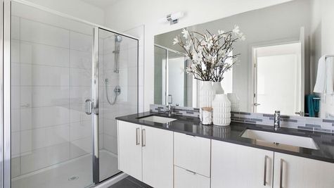 The Master Bathroom at the Wren at the Flatiron Station in Hillman City by Sage Homes Northwest