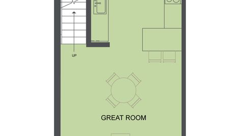 The Second Floor Plan of the Koolhaas Townhome of the Lucile Townhomes in Hillman City by Sage Homes Northwest