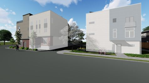 The Street View of the Exterior Elevation of the Calatrava Live/Work by Sage Homes Northwest