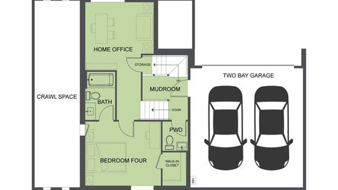 First Floor Plan of SR1 and SR2 of the Eames at the Savoye in Shoreline by Sage Homes Northwest