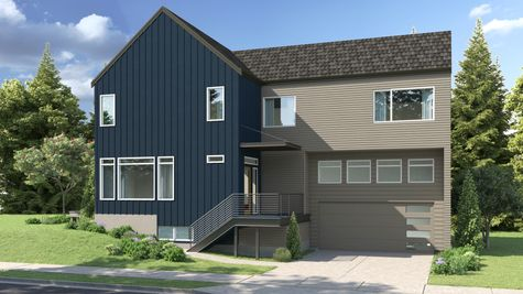 The Exterior Elevation of the Eames at 15237 Fremont Ave North at the Savoye in Shoreline by Sage Homes Northwest
