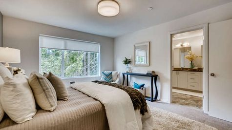 Master Bedroom and Bathroom of the Mies at Westbrook in Lynnwood by Sage Homes Northwest