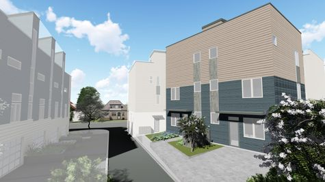 The Alley View of the Exterior Elevation of the Morgan Townhome by Sage Homes Northwest