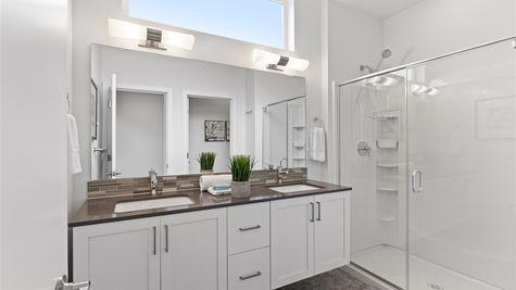 Primary Bathroom of the Alvar by Sage Homes Northwest