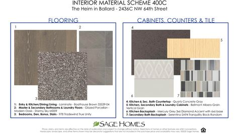 Interior Materials at 2436C NW 64th Street at the Heim by Sage Homes Northwest