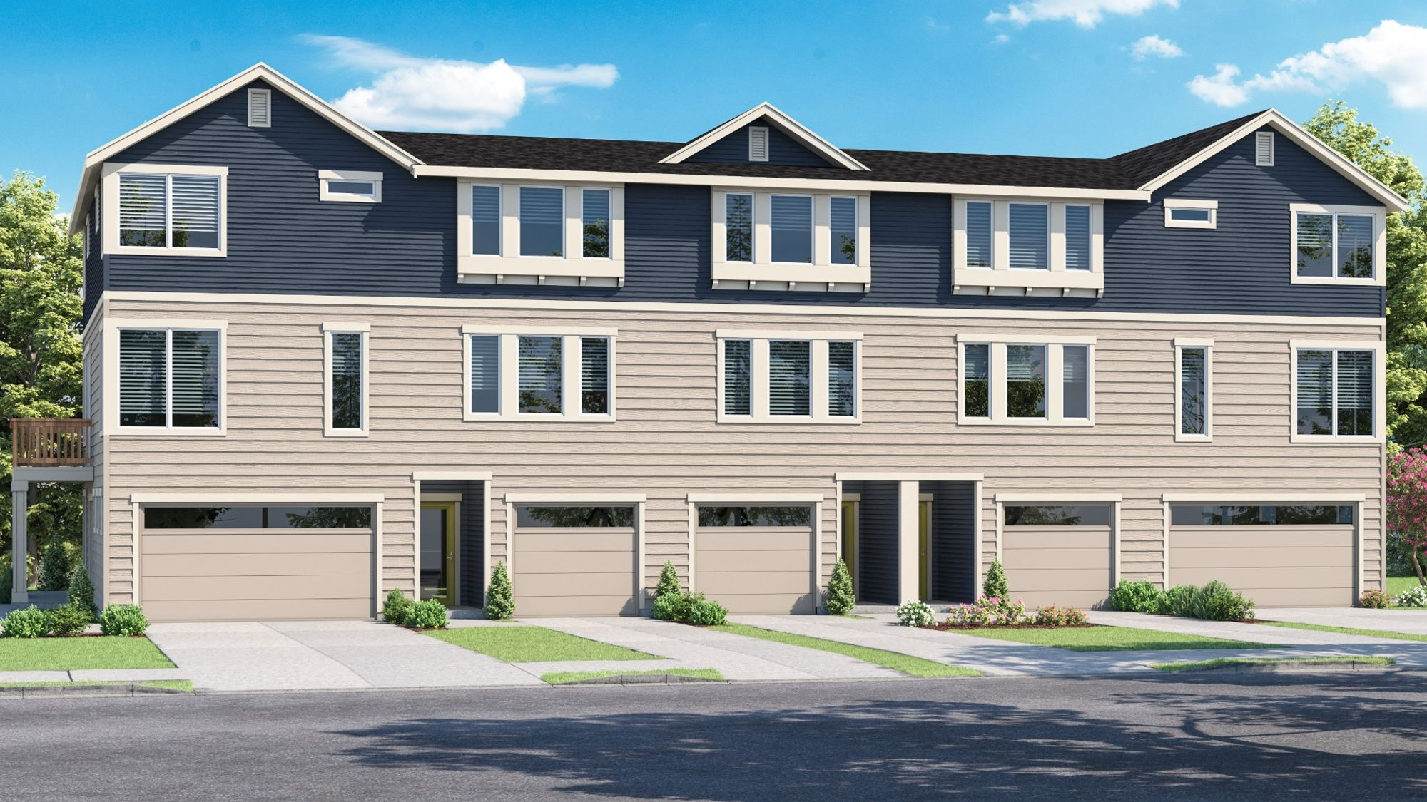Exterior Rendering of the AVO townhomes in WA Bronze Exterior Color Scheme by Sage Homes Northwest