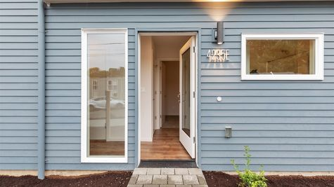 Front Entry of the Fuller townhome by Sage Homes Northwest