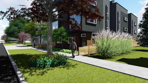 Sidewalk view and Exterior Elevation at 214 17th Ave E by Sage Homes Northwest