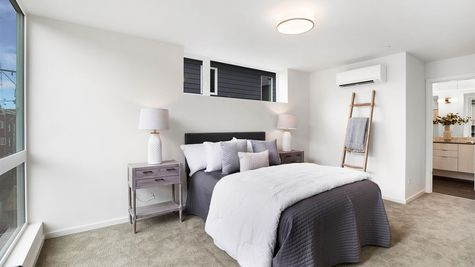 Master Bedroom and Bathroom of the Sullivan Townhome at 212A 17th Ave E by Sage Homes Northwest