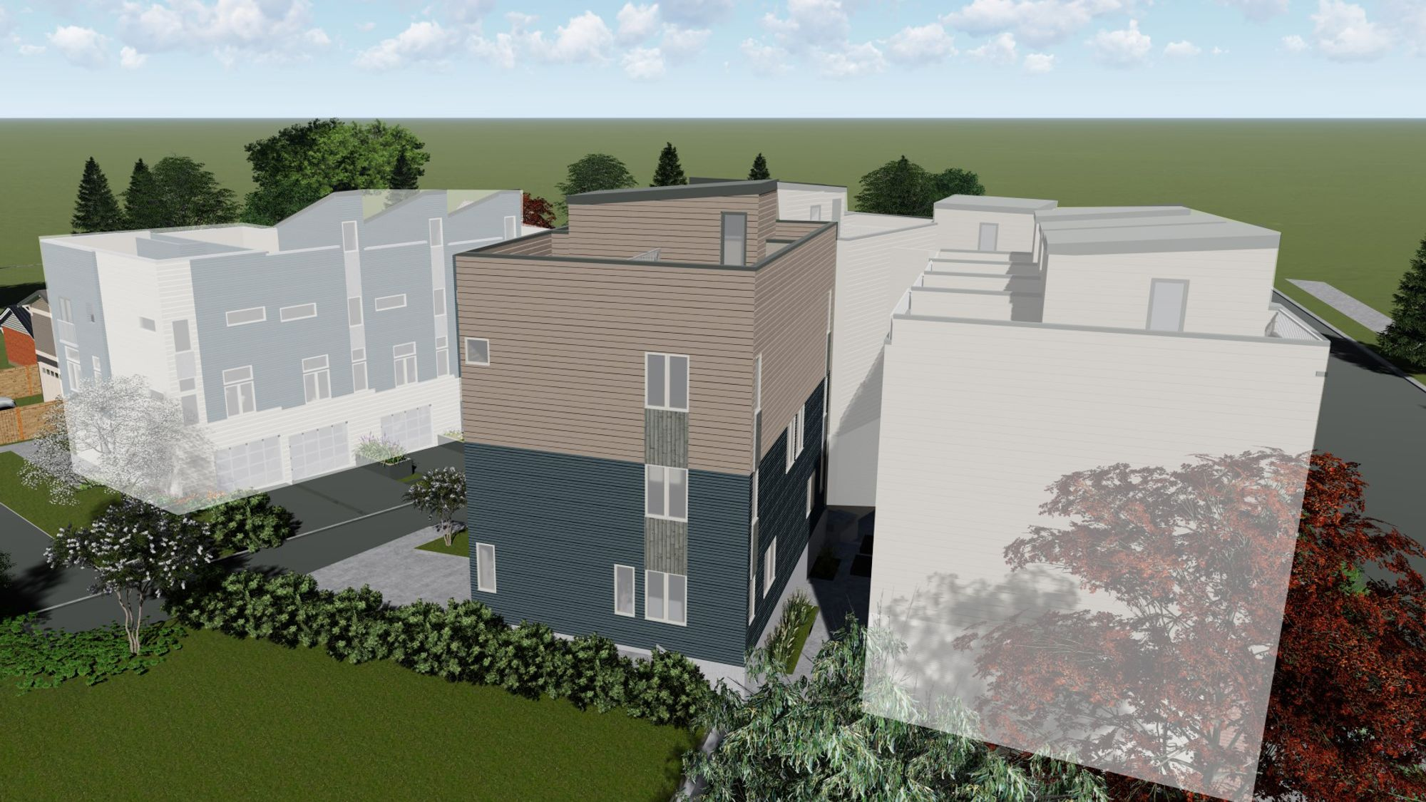 The Exterior Elevation of the Morgan Townhome by Sage Homes Northwest