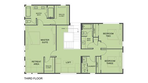 Third Floor Plan of SR1 and SR2 of the Eames at the Savoye in Shoreline by Sage Homes Northwest