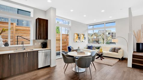 Kitchen, Dining & Living Room of 926 N 35th Street in Seattle by Sage Homes Northwest