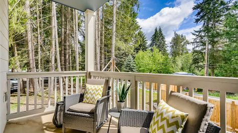 Deck off Great Room of the Mies at Westbrook in Lynnwood by Sage Homes Northwest