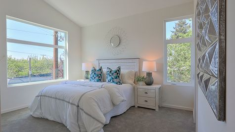 Master Bedroom with Windows of 64th in Ballard by Sage Homes Northwest