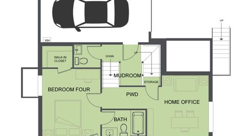 First Floor Plan of SR3 of the Eames at the Savoye in Shoreline by Sage Homes Northwest
