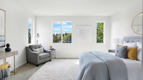 The Master Bedroom at the Wren at the Flatiron Station in Hillman City by Sage Homes Northwest