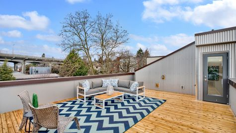 Lighting and Access to Roof Deck of 926 N 35th Street in Seattle by Sage Homes Northwest
