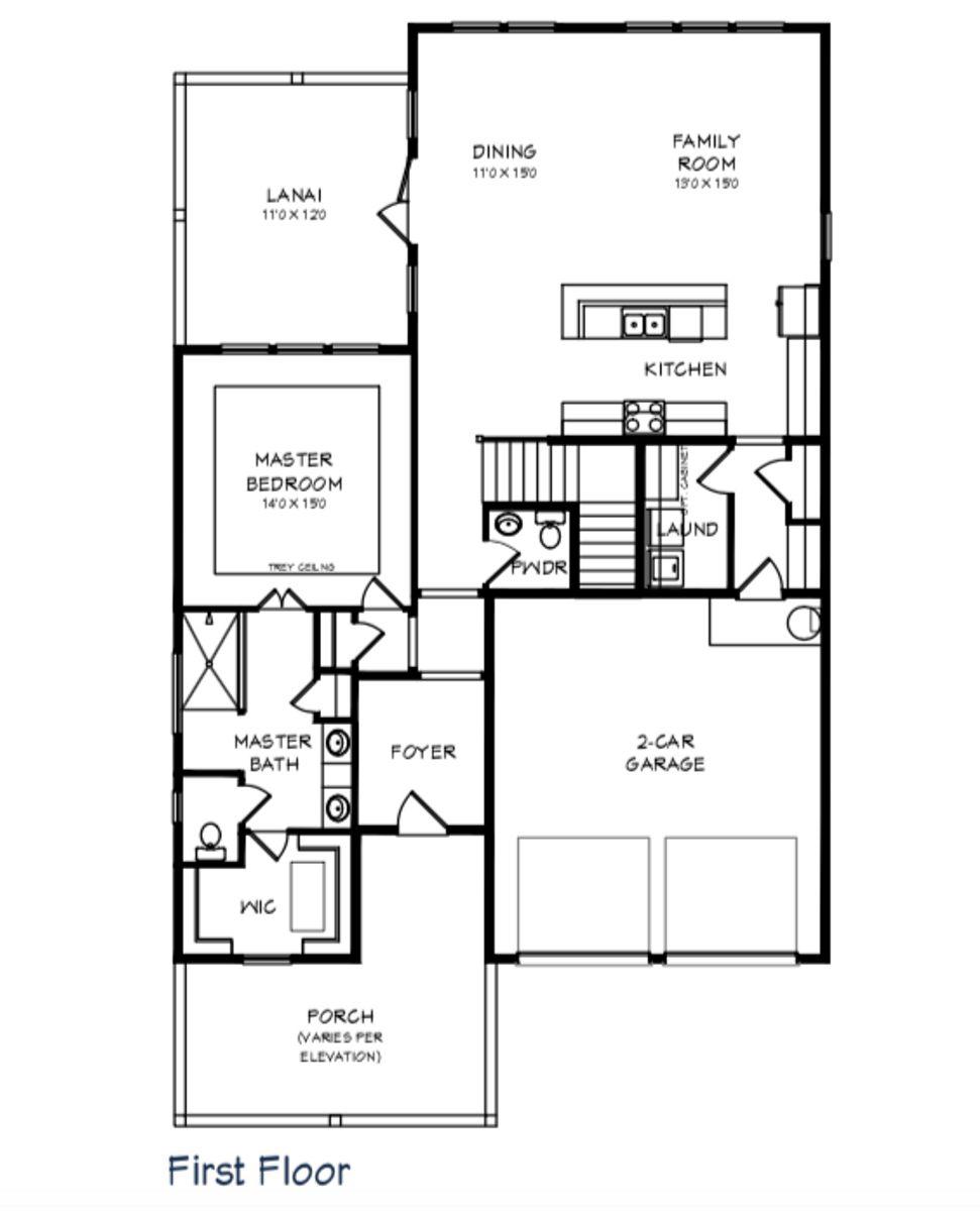 Amelia Floor Plan - 1st Floor