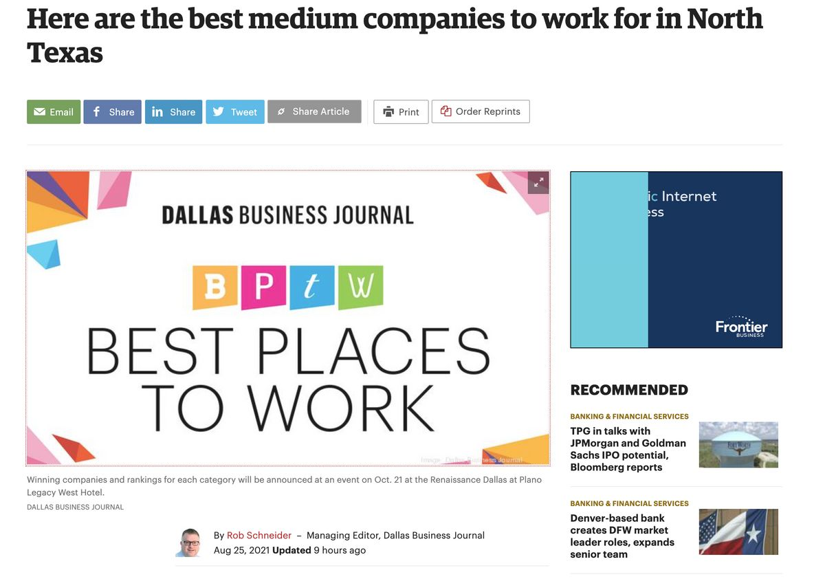 Dallas Business Journal's Best Places to Work!