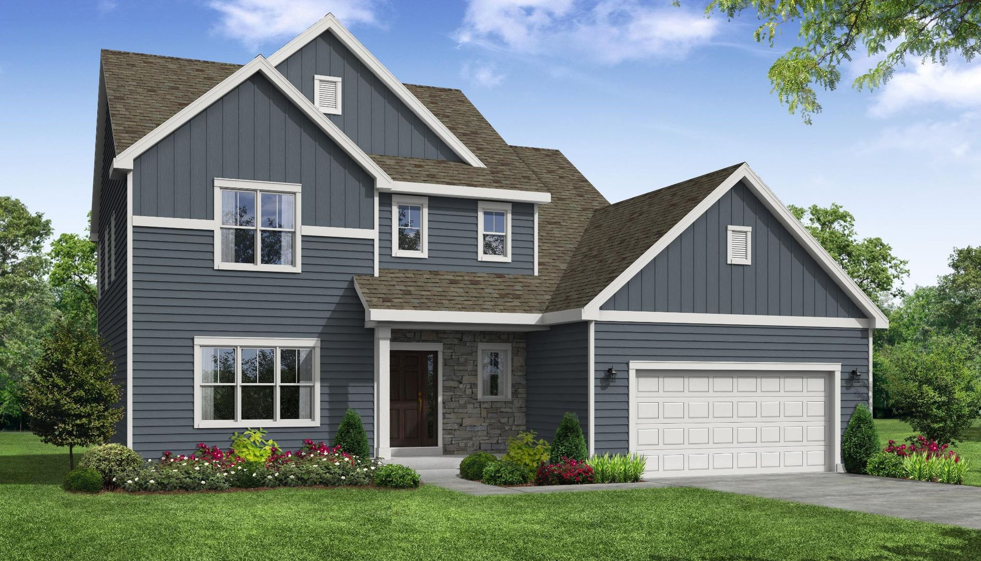 Evergreen Farmhouse Front Elevation Rendering