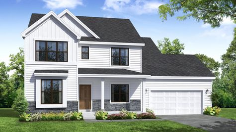 Hickory Farmhouse Front Elevation Rendering