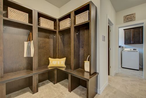 Large mudroom in a new home in Milwaukee WI