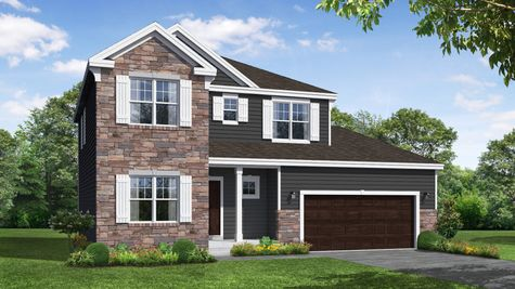 Ivy French Country Front Elevation Rendering