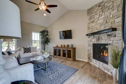 Hearth room in a new home in Wisconsin