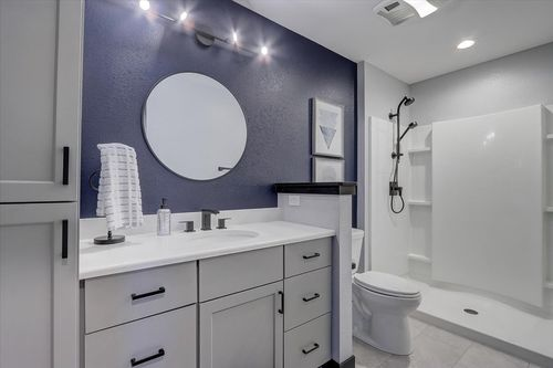 Double vanity bathroom in a new Tim O'Brien home