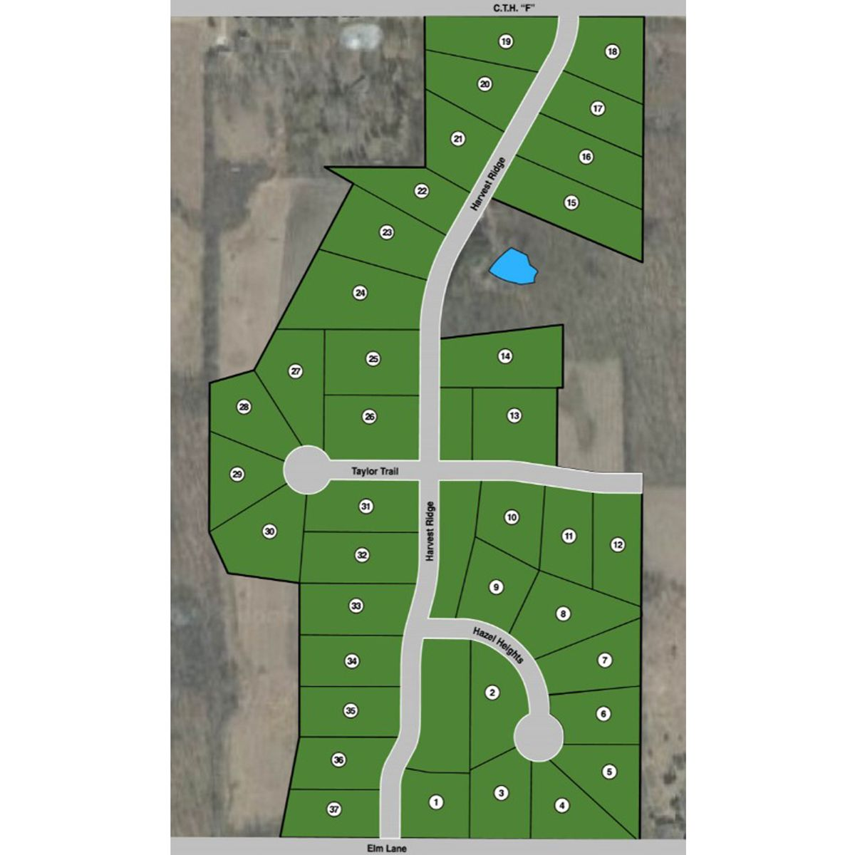 Map of new home community in Germantown WI, Harvest Hills
