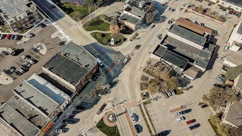 Aerial View of Downtown Oregon, WI near Autumn Ridge by Tim O'Brien Homes