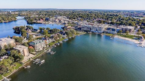 Aerial view of waterfront community Summit WI
