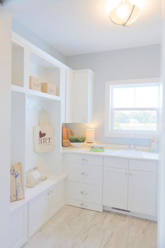White built-in storage in a new home in Milwaukee WI