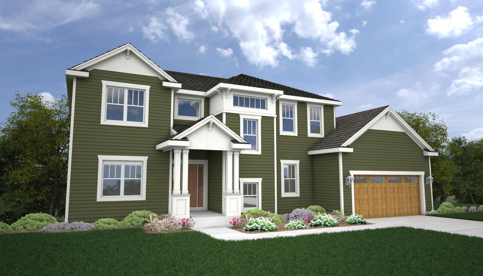 Canterbury Craftsman Front Elevation Rendering