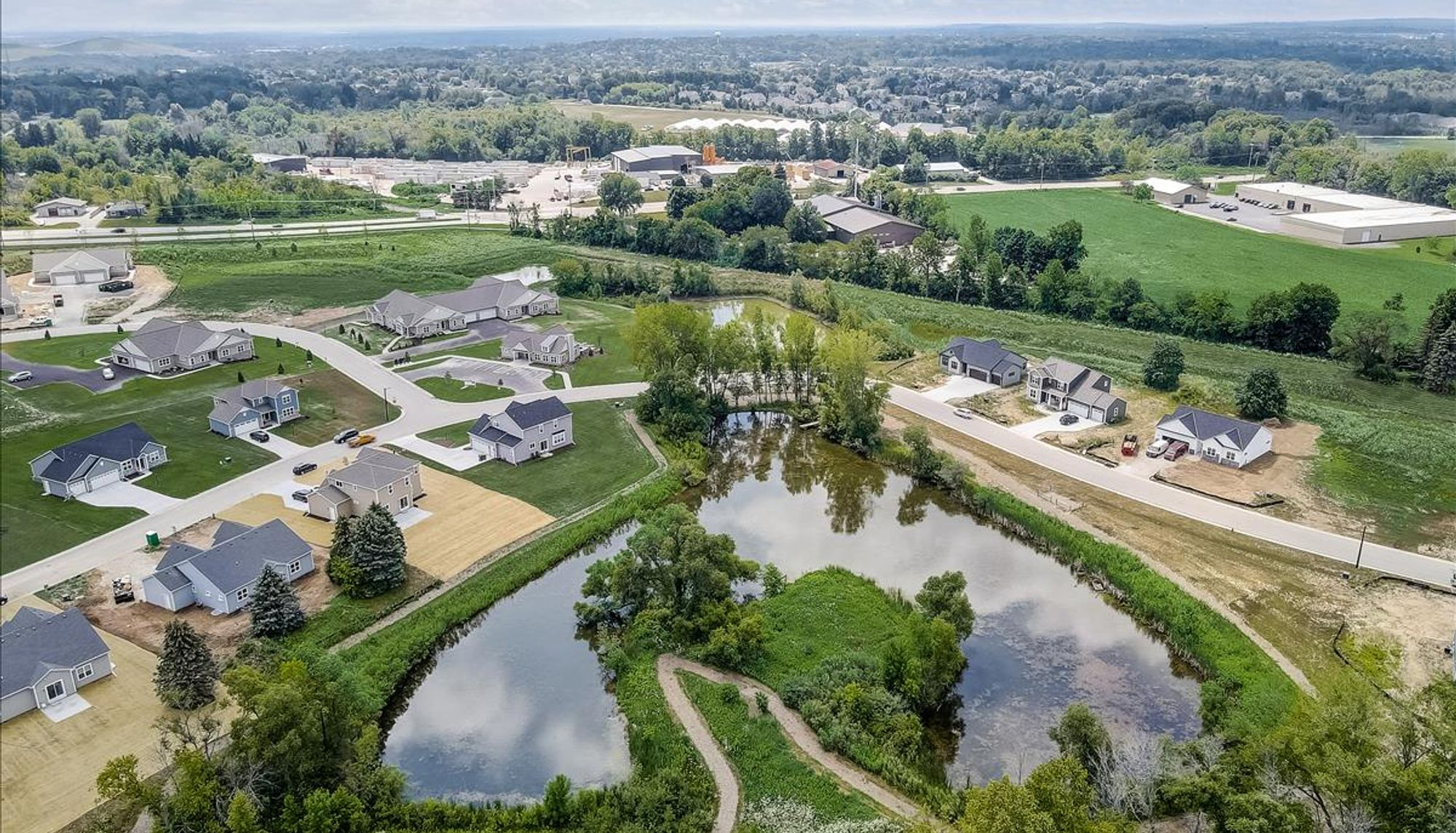 Aerial view of the new home community in Germantown WI, Wrenwood