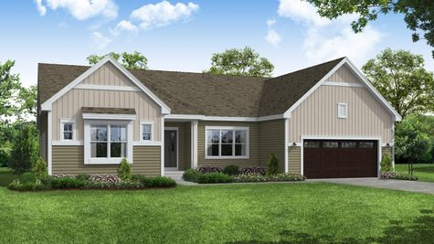 Cascade Farmhouse Front Elevation Rendering