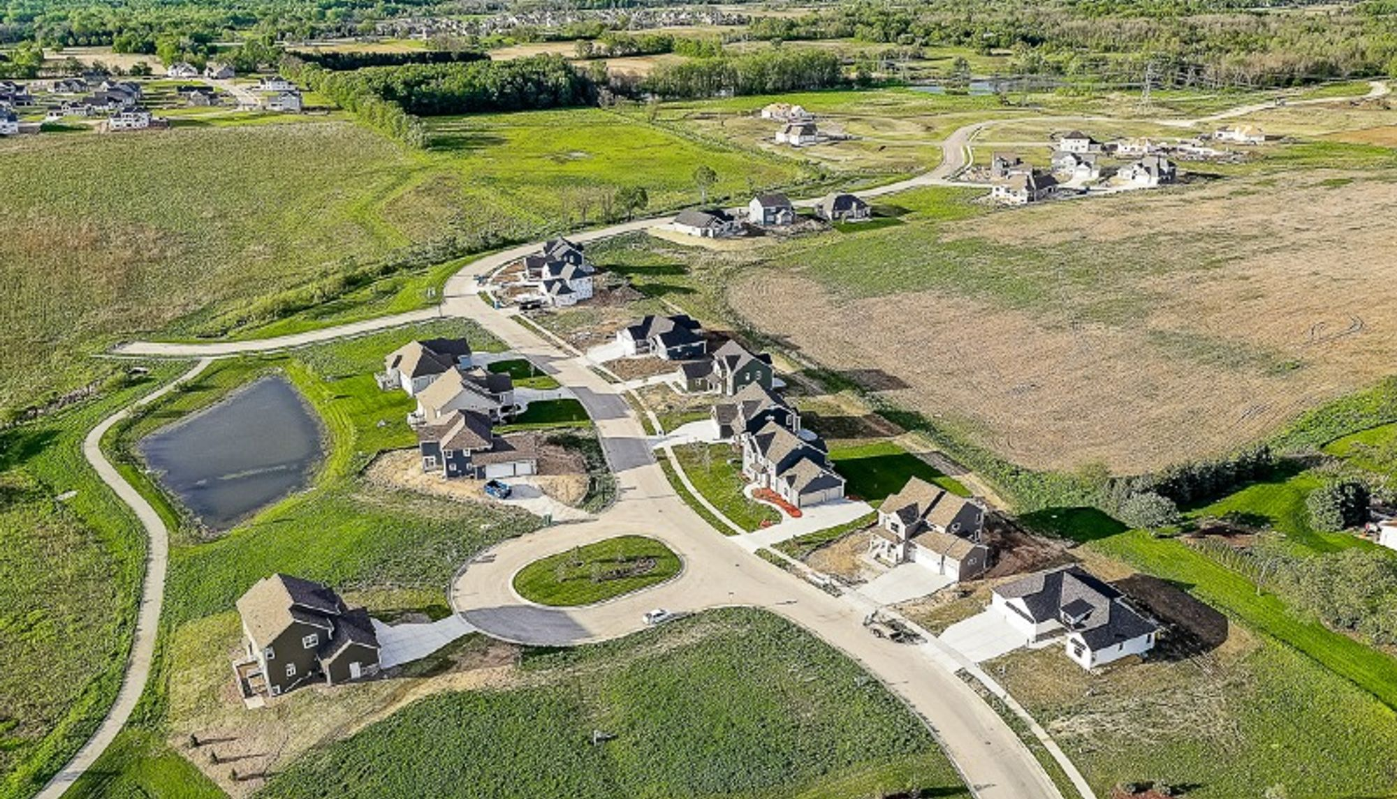 Aerial view of Tamarind new homes in Menomonee Falls WI