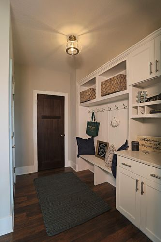 White mudroom in a Wisconsin area model home