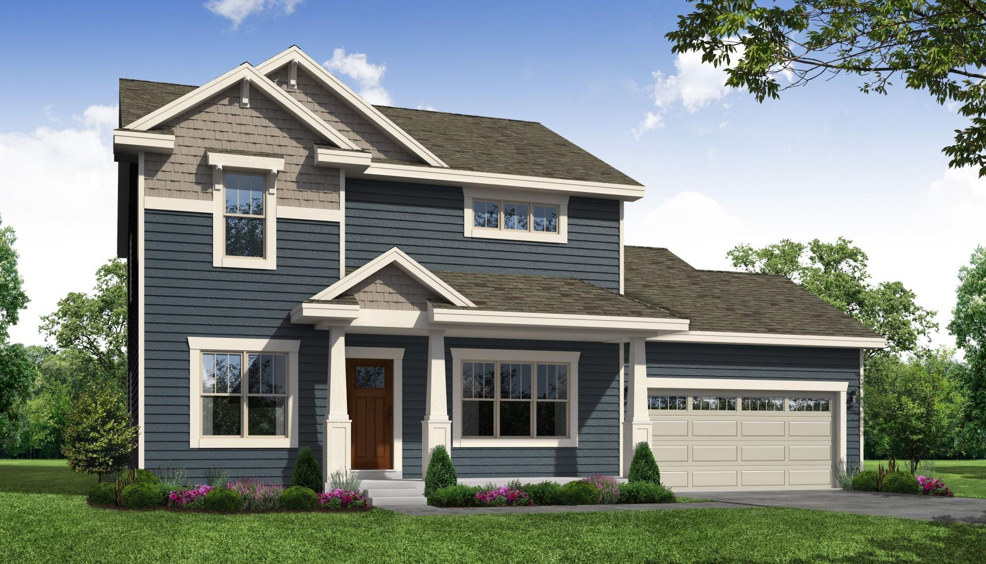 Mulberry Craftsman Front Elevation Rendering