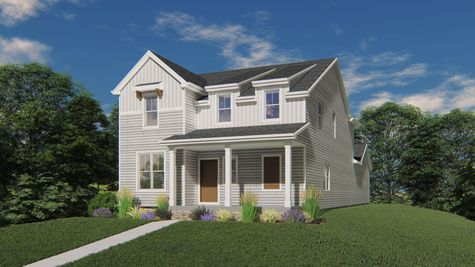 Chagall Farmhouse Front Elevation Rendering