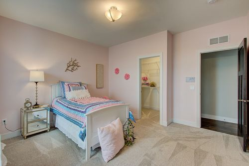 Pink bedroom in a new construction home