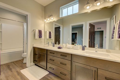 Gray master bathroom by home builders in Milwaukee WI