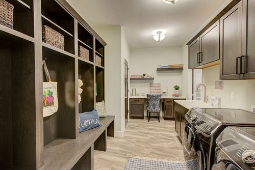 Large mudroom in a new home by Milwaukee home builders, Tim O'Brien Homes
